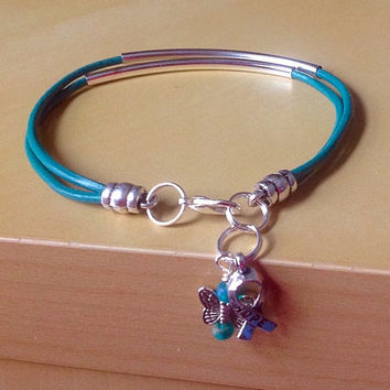 Curved Tube Awareness Bracelet-Leather-Friendship Bangle Bracelets-Ovarian Cancer-Anxiety Disorder-Sexual Abuse-