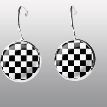 Earrings Chess chessboard black and white cell Dangle Earrings. Stylish women Inspired Jewelry. Art Post Earrings. Gift for Women and Girls.