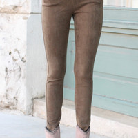 Faux Suede Leggings {Olive}