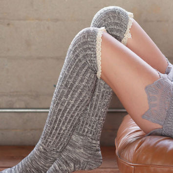 Over the Knee Socks - Charcoal