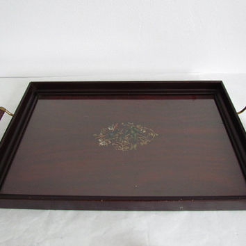 Vintage Wooden Mahogany Breakfast  Tray With Handles Serving Tray Decorative Tray Beverage Tray