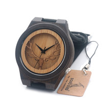 BOBO BIRD B18 Deer Head Skeleton Design Ebony Wooden Quartz Watch Mens Womens Timepiece with Genuine Leather Band in Gift box