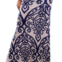 Damask Maxi Skirt - Royal/Ivory
