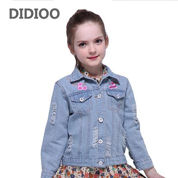 Denim Coats for Girls Embroidery Jeans Jackets Children Ripped Outerwear Kids Denim Jackets