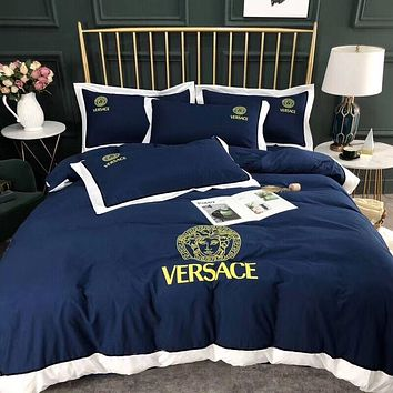 VERSACE Luxury Designer Bedding Blanket Quilt Coverlet 2 Pillows Shams 4 PC Bedding Set
