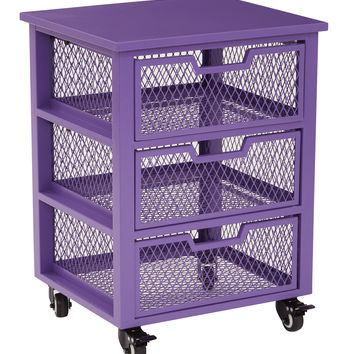 Office Star Clayton 3 Drawer Rolling Cart in Purple Metal Finish Frame Fully Assembled [CLY03AS-512]
