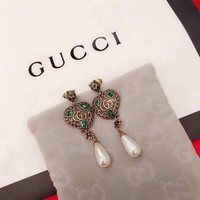 Gucci Womens Pearl Fashion Logo Stud Earring opal earrings Circle drop for helix Jewelry