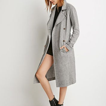 Houndstooth-Patterned Trench Coat