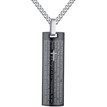 Stainless Steel Lord's Prayer in English and Cross Pendant Necklace