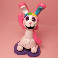 Pixielocks inspired bunny rabbit sculpture/caketopper, polymer clay decor