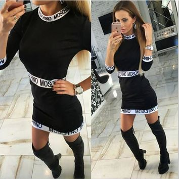 MOSCHINO Women Fashion Long Sleeve Bodycon Mini Dress