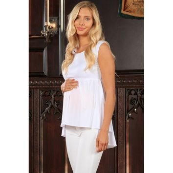 White Stretchy Empire Waist Sleeveless High-Low Top - Women Maternity