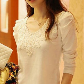 hot  fashion size M, L, XL , 2XL White and black colored Summerland women Casual  blouse sexy thin  Lace V-neck knitting follower collar cotton polyester bottoming shirt = 1929639620