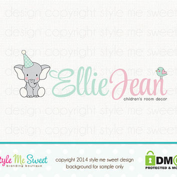 Custom Premade Logo Design - Elephant Logo Newborn Premade Logo Design Boutique Logo Hand Drawn