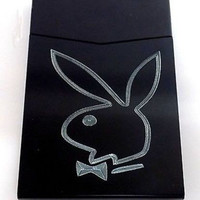Playboy Black Slim Cigarette Business Card USA Seller Metal Gift Case BUS-0180