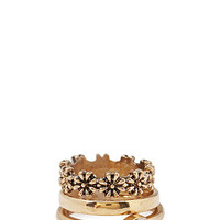 Faux Stone & Floral Ring Set