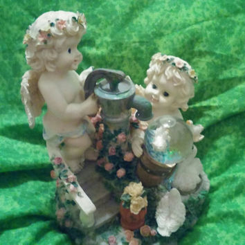 "Classic Treasures Twin Cherubs Music Box Figurine - Plays ""That's What Friends are For"""