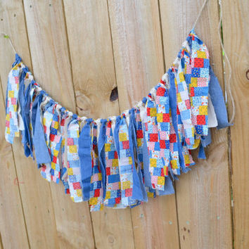 vintage inspired banner - birthday decor - cake smash decor - barnyard birthday party - patchwork banner - raggedy ann party