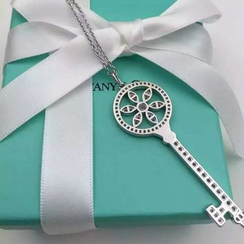 Tiffany & Co. Six-leaf grass full drill key necklace