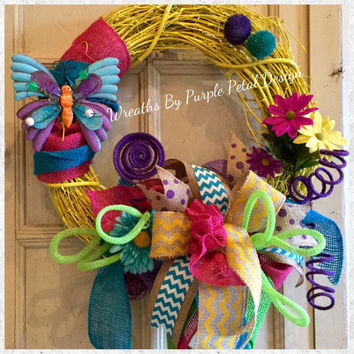 Spring Wreath - Spring Burlap Wreath - Summer Wreath - Grapevine Wreath - Easter Wreath - Butterfly Wreath - Summer Burlap Wreath - Wreath