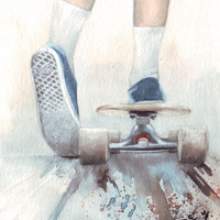 Original watercolor art of Skateboard and Vans painting