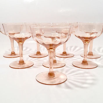 Pink Depression Glass Champagne Coupes,Set of 8 Pink Crystal Cocktail Glasses