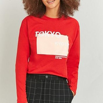 BDG Tokyo Long Sleeve Cropped Red T-shirt - Urban Outfitters