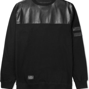 Grand Scheme Black Leather Trim Fleece Sweater | HYPEBEAST Store. Shop Online for Men's Fashion, Streetwear, Sneakers, Accessories