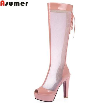 Asumer Plus size 34-44 new fashion women's knee high boots peep toe platform shoes women sandals sexy lace up summer boots