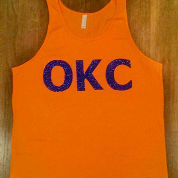 OKC Tank Top. Sleeveless Orange Shirt with Royal Blue Glitter Applique. Oklahoma City Tank. Thunder Up. Thunder Nation. OKC Basketball