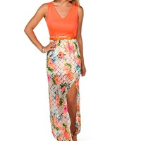 Sale-neon Floral Belted Maxi Dress