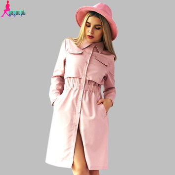 Gagaopt 2016 Brand Winter Women Office Dress Pink Black Shirt Robe Vintage Retro Midi Tunic Long Sleeve Vestidos D0811