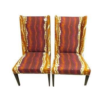 Pre-owned Hickory Modified Wing Back Chairs - A Pair