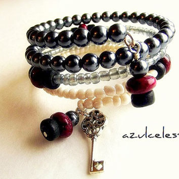 Memory Wire Bracelet, Metallic Gray Pearls, Gray and Creamy White Seed Beads, Cranberry Jade, Coconut Shell by azulcelest