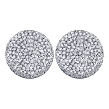 10kt White Gold Mens Round Diamond Circle Cluster Stud Earrings 5/8 Cttw