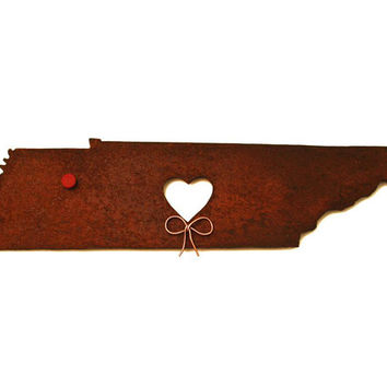Tennessee State Map Metal Wall Art Sculpture - State Sculpture - State Silhouette - State Decor - Rustic - Rusty
