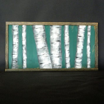 Handpainted White Birch, Teal Background, reclaimed barnwood pallet art, rustic and shabby chic
