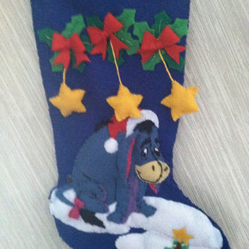 Eeyore Completed Handmade Felt Christmas Stocking from Bucilla Kit