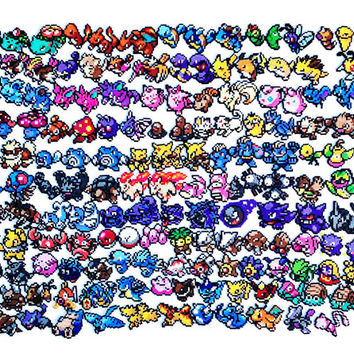 Pokemon Perler-Pick your own team of 6 + 1 Pokeball (X & Y Pokemon and Mega Evolutions now available) PLEASE read details before you order