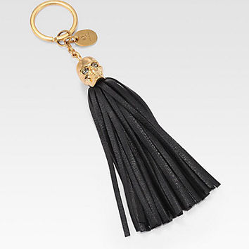 Alexander McQueen - Leather Tassel Skull Key Ring/Black