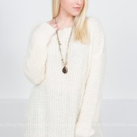 Fuzzy Knit Cream Sweater