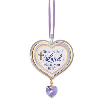 Trust In The Lord Heart Glass Ornament - Perfect Religious Gift