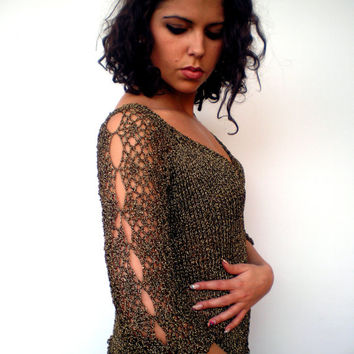 Black and Gold Lace Top Hand Knit Soft Elegant Metalized Yarn Woman Short Top Sweater NEW