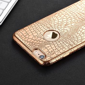 New Luxury 3D Crocodile Snake Print Plating Case For iPhone