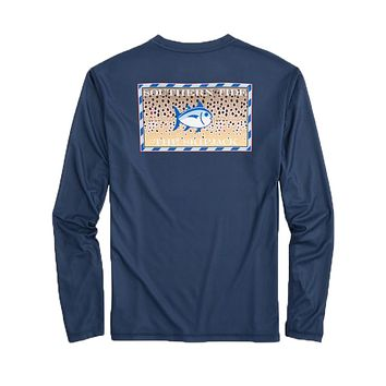 Southern Slam Series Brown Trout Long Sleeve Performance T-Shirt in Deep Sea by Southern Tide