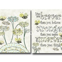 Neutral nursery yellow bee baby girl room decor, Baby boy room decor Winnie pooh quotes, braver believe, inspirational quote baby typography