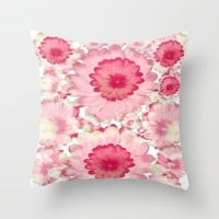 Flowery Pink and White Throw Pillow by Jennifer Warmuth Art And Design