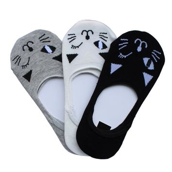 Sock Slippers Socks Of Cat Design Hidden Flat Boat Line Women Casual Invisible Ankle Low-Cut Sock Cute Design Free Shipping