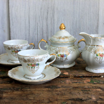 vintage demitasse set // cream and sugar // cups and saucers // japan // child's set