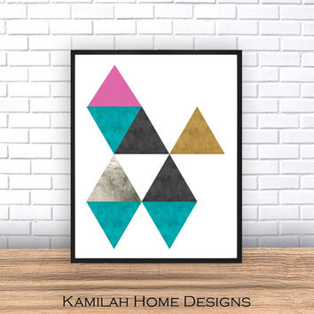 Colorful Abstract Art Print, Printable Wall Art, Scandinavian Design, Mid Century Modern, Geometric Art, Minimalist Art, Instant Download